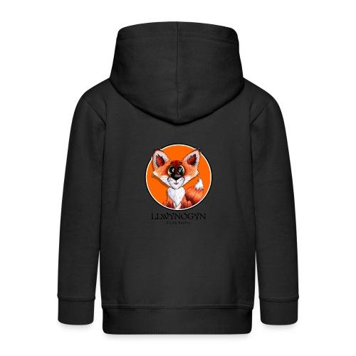 llwynogyn - a little red fox (black) - Kids' Premium Zip Hoodie