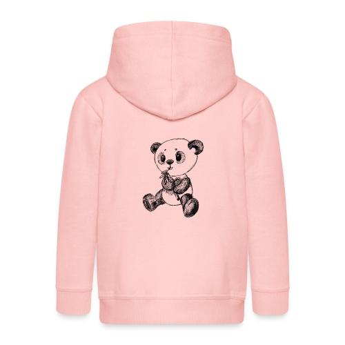 Panda bjørn sort scribblesirii - Premium hættejakke til børn