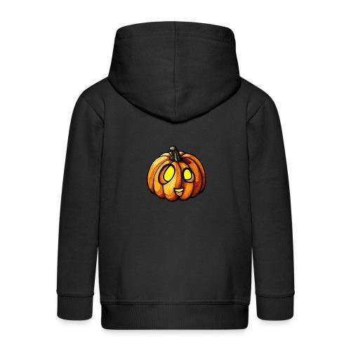 Pumpkin Halloween watercolor scribblesirii - Kids' Premium Zip Hoodie