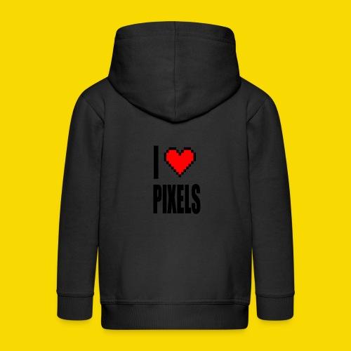 I Love Pixels - Rozpinana bluza dziecięca z kapturem Premium
