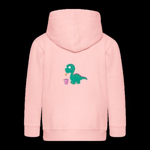 Kleiner Dinosaurier mit Blumentopf - Kinder Premium Kapuzenjacke