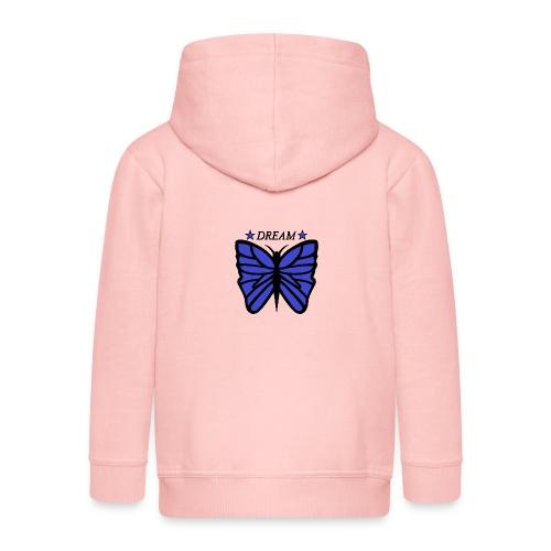 Motiv på en fjäril med ordet dream över. - Premium-Luvjacka barn