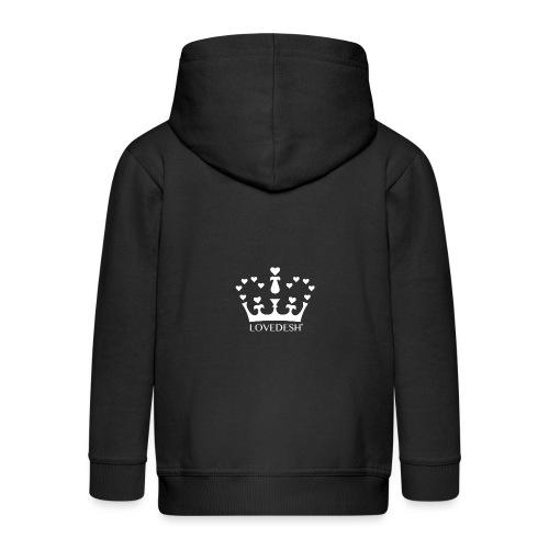 White Lovedesh Crown, Ethical Luxury - With Heart - Kids' Premium Zip Hoodie