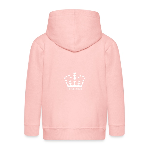 White Lovedesh Crown, Ethical Luxury - With Heart - Kids' Premium Zip Hoodie
