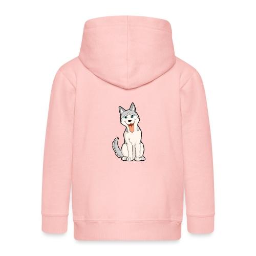 Husky grigio occhi azzurri - Felpa con zip Premium per bambini