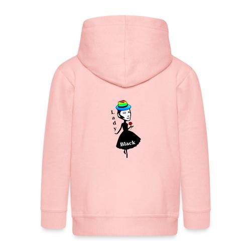 Lady Black/Regenbogen - Kinder Premium Kapuzenjacke