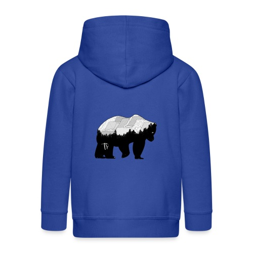 Geometric Mountain Bear - Felpa con zip Premium per bambini