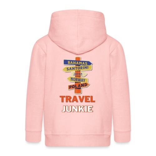 traveljunkie - i like to travel - Kinder Premium Kapuzenjacke