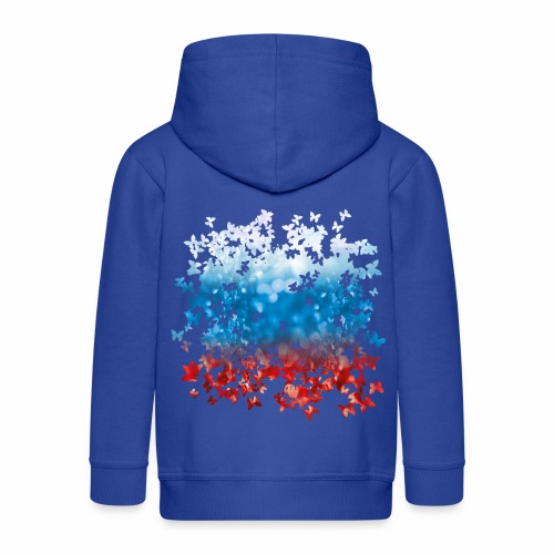 06 Russland Flagge Fahne Russia Schmetterlinge - Kinder Premium Kapuzenjacke