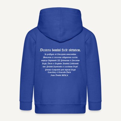 napis - Rozpinana bluza dziecięca z kapturem Premium