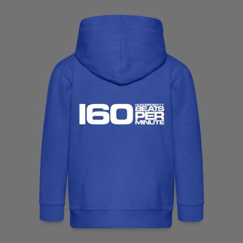 160 BPM (białe długie) - Rozpinana bluza dziecięca z kapturem Premium