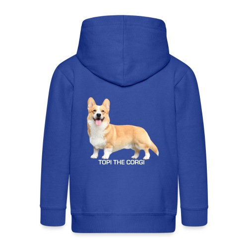 Topi the Corgi - White text - Kids' Premium Zip Hoodie