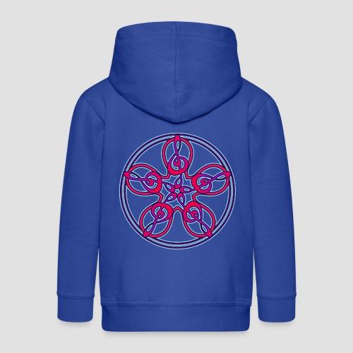 Treble Clef Mandala (red/violet/blue) - Kids' Premium Zip Hoodie