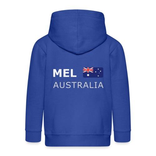 MEL AUSTRALIA white-lettered 400 dpi - Kids' Premium Zip Hoodie