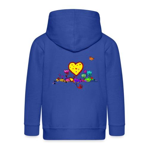 Blumengruß mit Herz - Kinder Premium Kapuzenjacke