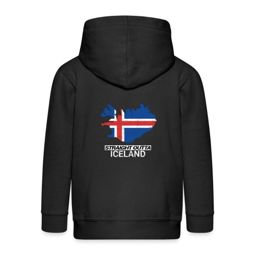 Straight Outta Iceland country map - Kids' Premium Zip Hoodie