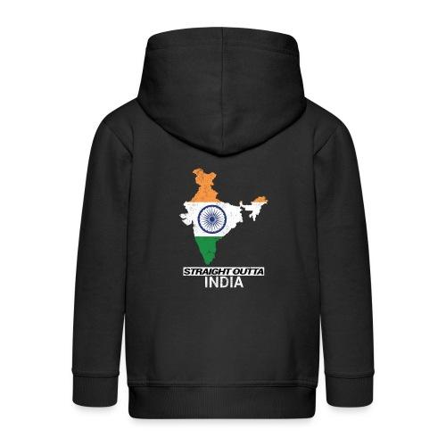 Straight Outta India (Bharat) country map flag - Kids' Premium Zip Hoodie
