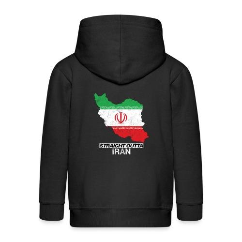Straight Outta Iran country map & flag - Kids' Premium Zip Hoodie