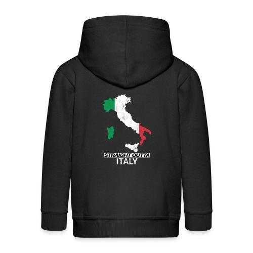 Straight Outta Italy (Italia) country map flag - Kids' Premium Zip Hoodie