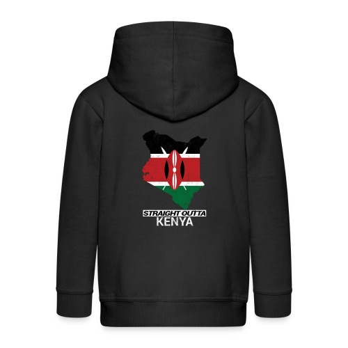Straight Outta Kenya country map & flag - Kids' Premium Zip Hoodie