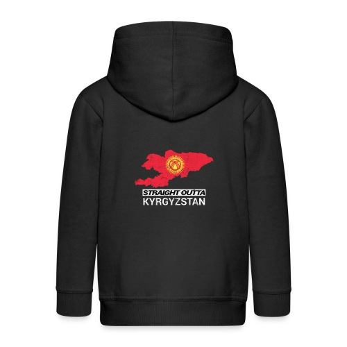 Straight Outta Kyrgyzstan country map - Kids' Premium Zip Hoodie