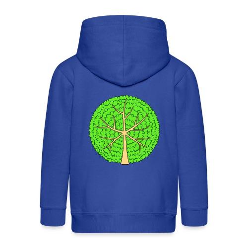Baum, rund, hellgrün - Kinder Premium Kapuzenjacke