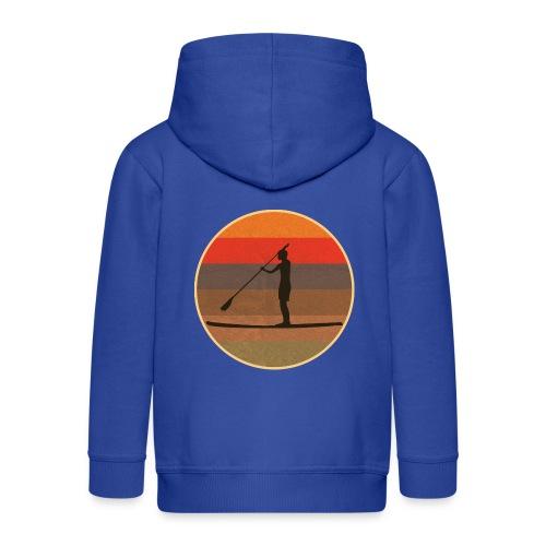 Stand up paddling (SUP) im Sonnenuntergang - Kinder Premium Kapuzenjacke
