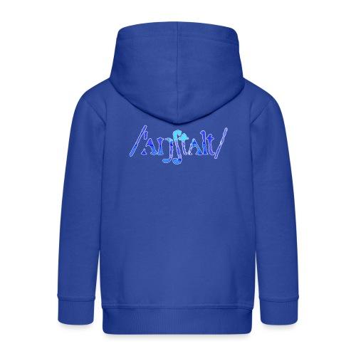 /'angstalt/ logo gerastert (blau/weiss) - Kinder Premium Kapuzenjacke