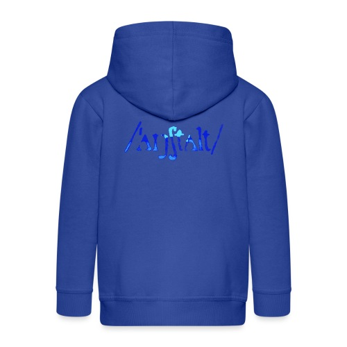 /'angstalt/ logo gerastert (blau/transparent) - Kinder Premium Kapuzenjacke