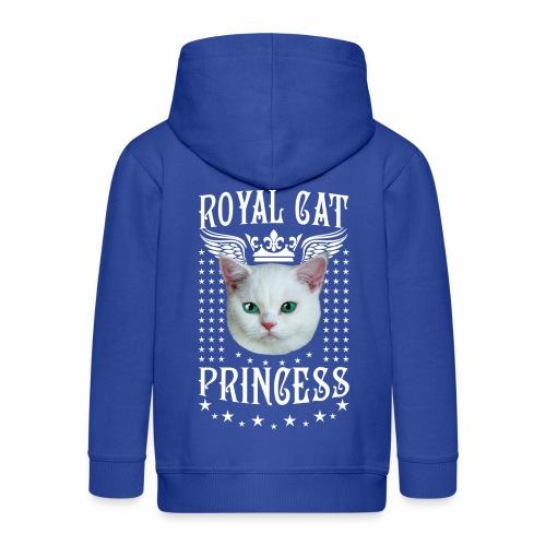 26 Royal Cat Princess white feine weiße Katze - Kinder Premium Kapuzenjacke