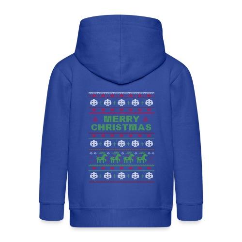 Ugly Sweater Merry Christmas Weihnachtsfarben - Kinder Premium Kapuzenjacke