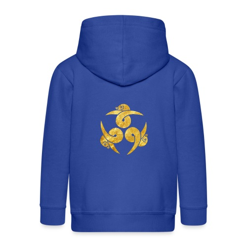 Three Geese Japanese Kamon in gold - Kids' Premium Hooded Jacket