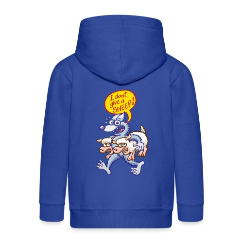 Bad blue wolf says I don't give a sheep - Kids' Premium Hooded Jacket