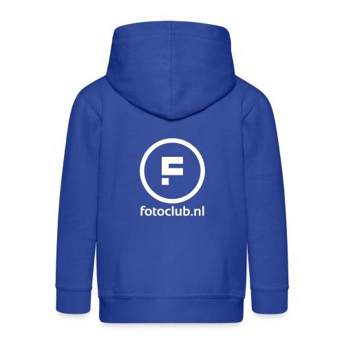 Logo Rond Wit met tekst - Kinderen Premium jas met capuchon