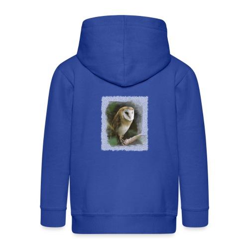 kluge Eule Schleiereule Aquarell Foto Kunst Natur - Kids' Premium Zip Hoodie