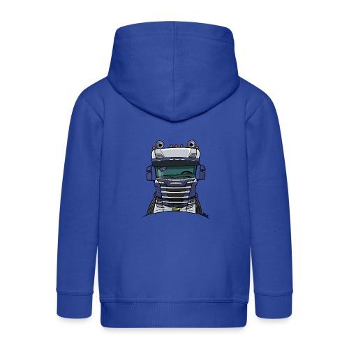 0814 S truck blauw wit - Kinderen Premium jas met capuchon