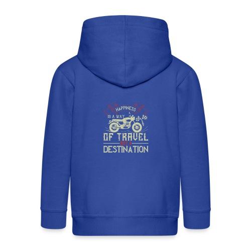 Happiness is away from travel not a destination. - Kids' Premium Zip Hoodie