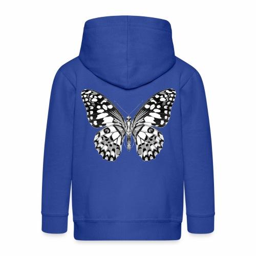 08 Schmetterling schwarz weiss schwarzweiß - Kinder Premium Kapuzenjacke