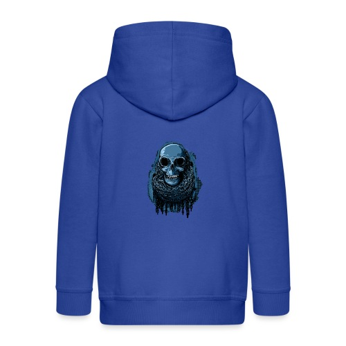 SKULL in CHAINS - deepBlue - Kids' Premium Zip Hoodie