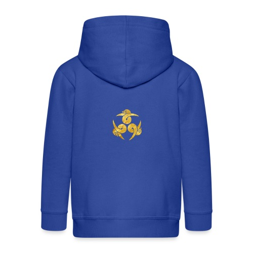 Three Geese Japanese Kamon in gold - Kids' Premium Zip Hoodie