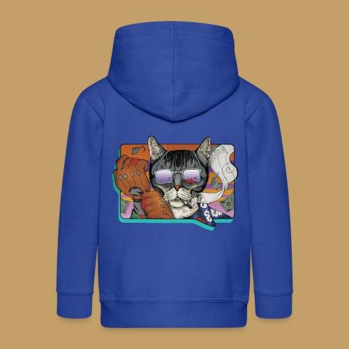 Crime Cat in Shades - Rozpinana bluza dziecięca z kapturem Premium