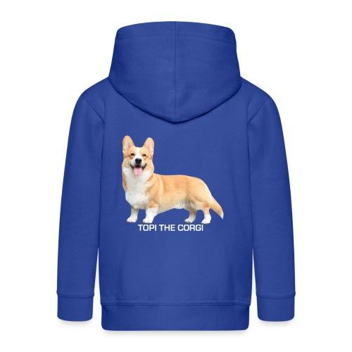 Topi the Corgi - White text - Kids' Premium Hooded Jacket