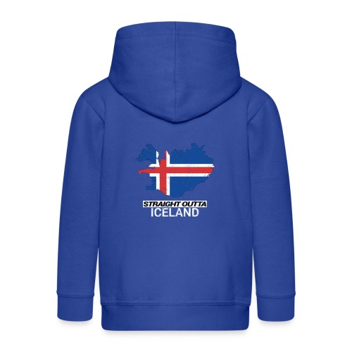 Straight Outta Iceland country map - Kids' Premium Hooded Jacket