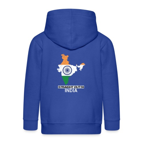 Straight Outta India (Bharat) country map flag - Kids' Premium Hooded Jacket