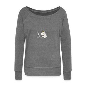 Unicorn Work - Women's Boat Neck Long Sleeve Top