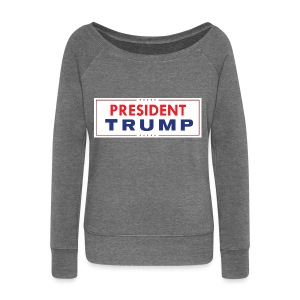 President Trump (White) - Women's Boat Neck Long Sleeve Top