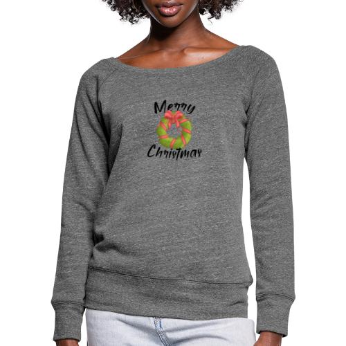merry christmas, christmas present, christmas tree - Women's Boat Neck Long Sleeve Top