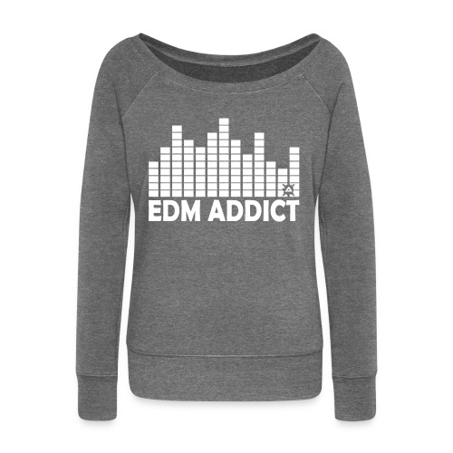 EDM addict White.png - Women's Boat Neck Long Sleeve Top