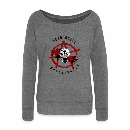 Dead Roses Anarchy Skull Black - Women's Boat Neck Long Sleeve Top