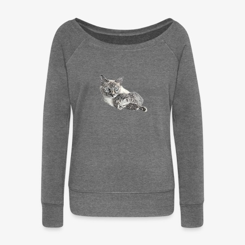 Snow and her baby - Women's Boat Neck Long Sleeve Top